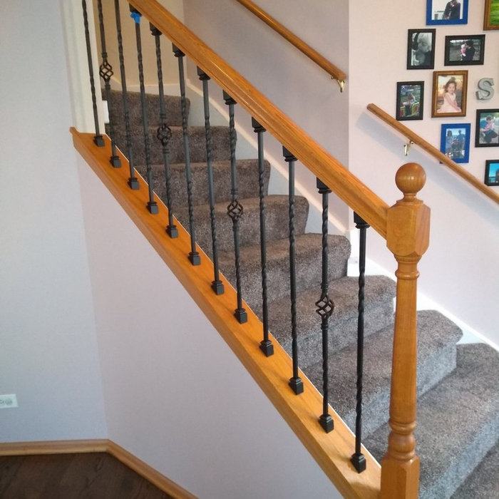 Oak spindles to Steel Balusters