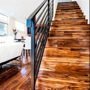 Idee per una scala a rampa dritta minimal di medie dimensioni con pedata in legno, alzata in legno e parapetto in metallo