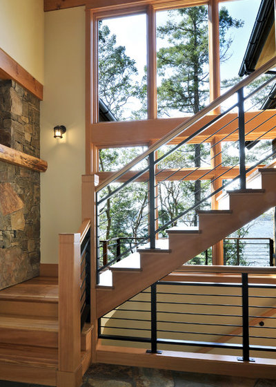 Rustic Staircase by David Vandervort Architects