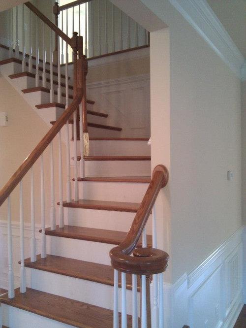 Photos et id es d co d 39 escaliers avec des contremarches en b ton et des m - Escalier beton peint ...