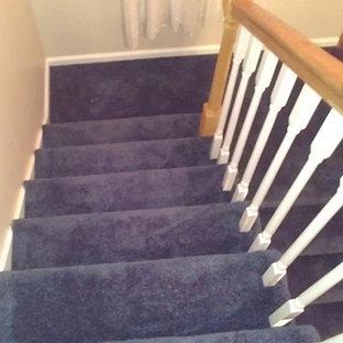 Foto de escalera curva, pequeña, con escalones enmoquetados y contrahuellas enmoquetadas