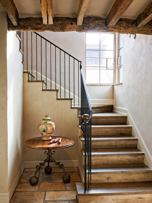 Rustic Wooden U Shaped Metal Railing Staircase Idea In Phoenix