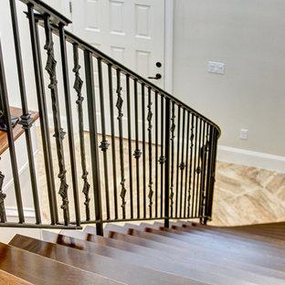 ジャクソンビルの広い木のトラディショナルスタイルのおしゃれなサーキュラー階段 (タイルの蹴込み板、金属の手すり) の写真