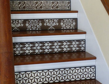Painted Stair Risers - Brown & White Stairs