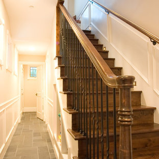 Example of a classic wooden staircase design in Houston with wooden risers