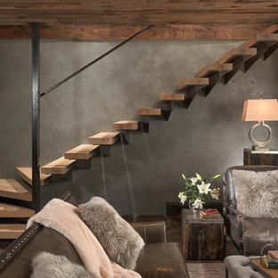 Diseño de escalera suspendida, moderna, de tamaño medio, sin contrahuella, con escalones de madera
