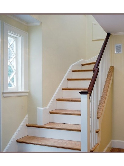 Inspiration For A Small Craftsman Wooden Curved Staircase Remodel In Boston