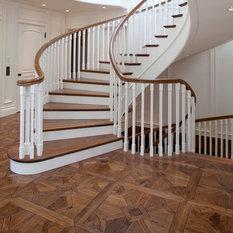 Custom Solid Walnut Parquet Floors With Walnut Stair Tread U0026 Paint Grade  Risers.