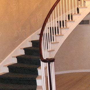 Esempio di una scala curva minimal di medie dimensioni con pedata in moquette e alzata in moquette