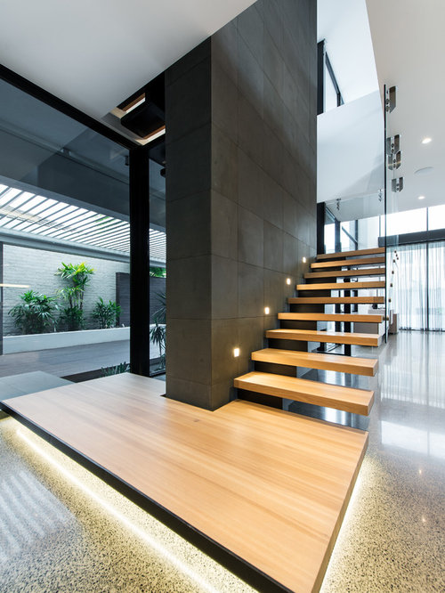 Photo Of A Contemporary Wood L Shaped Staircase In Melbourne.