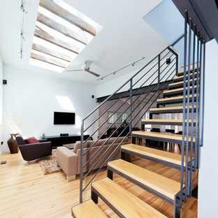 Inspiration for a modern staircase remodel in Philadelphia