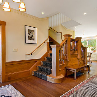Elegant wooden staircase photo in San Francisco with wooden risers
