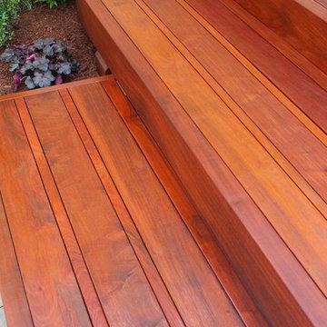 Planting,  Brazilian Walnut (IPE) steps, Techo-Bloc terrace