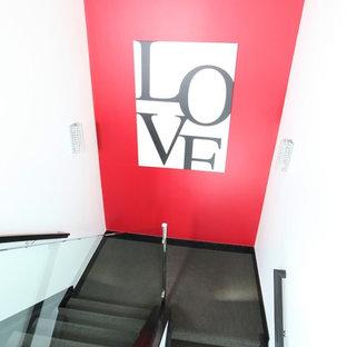 デンバーのカーペット敷きのコンテンポラリースタイルのおしゃれな折り返し階段 (カーペット張りの蹴込み板) の写真