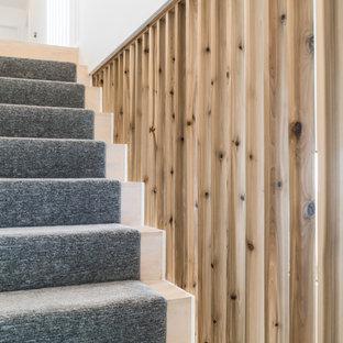 Modelo de escalera recta, de estilo americano, de tamaño medio, con escalones de madera, contrahuellas enmoquetadas y barandilla de madera
