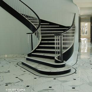 シカゴの巨大なトラディショナルスタイルのおしゃれならせん階段の写真