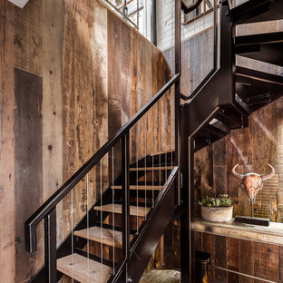 Ejemplo de escalera en L, rural, sin contrahuella, con escalones de madera