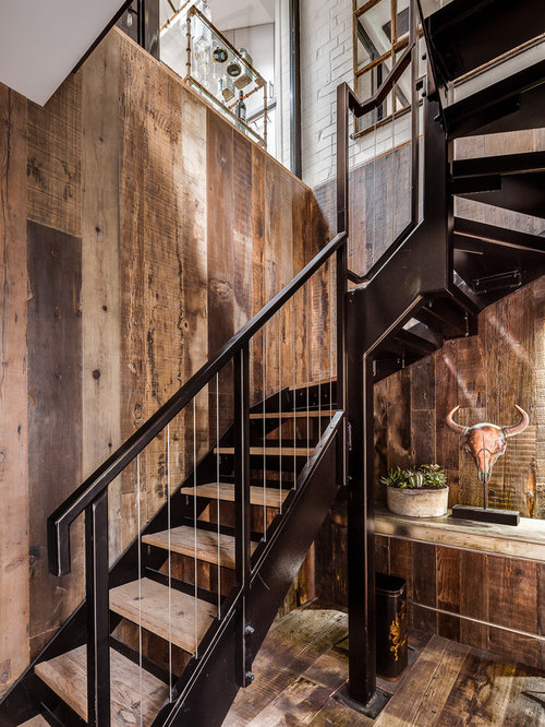 Inspiration For A Rustic Wood L Shaped Staircase In London With Metal  Risers.