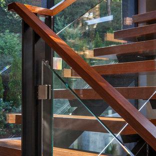 ポートランドの大きい木のコンテンポラリースタイルのおしゃれなサーキュラー階段 (ガラスの蹴込み板、木材の手すり) の写真