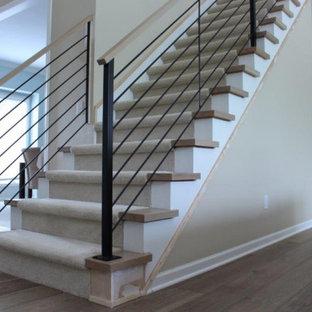 Exempel på en mellanstor modern rak trappa, med heltäckningsmatta, sättsteg med heltäckningsmatta och räcke i metall