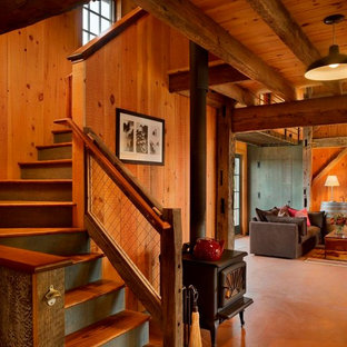 Inspiration for a rustic wood l-shaped staircase in Philadelphia.