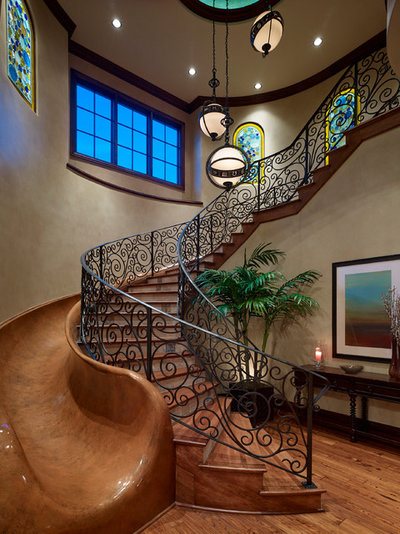 Mediterranean Staircase by J Richard Watson Construction Company, Inc.
