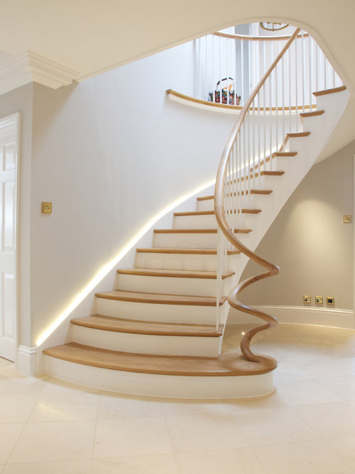 Nice Inspiration For A Transitional Wooden Curved Staircase Remodel In Wiltshire