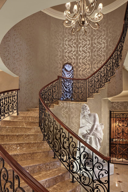 Mediterranean Staircase by KDS Interiors, Inc.