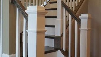Production Rail to Custom Rail, carpet grade stairs to hardwood retrotreads