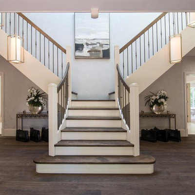 Staircase - mid-sized transitional wooden mixed material railing staircase idea in Other with painted risers
