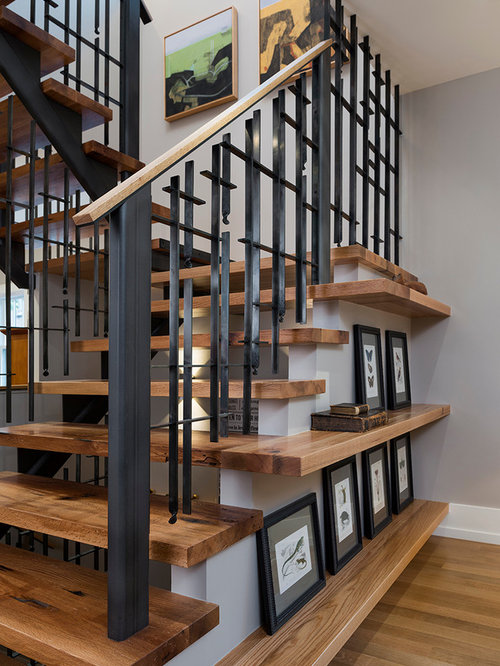 Craftsman Black Staircase Design Ideas Remodels Photos
