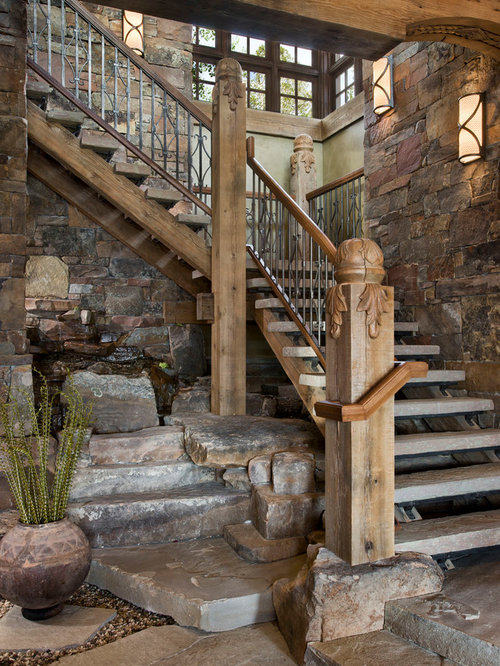 Exceptional Inspiration For A Rustic Open Staircase Remodel In Other