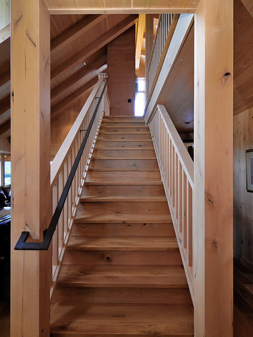 Metal handrail houzz Ranch style staircase