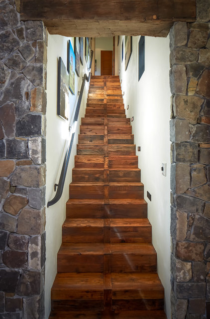 Rustic Staircase by Thompson Custom Homes