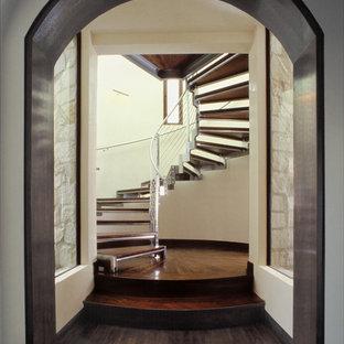 サンディエゴの広い木の地中海スタイルのおしゃれな階段 (金属の手すり) の写真