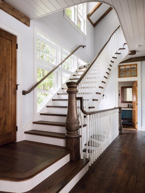 Farmhouse Milwaukee Staircase Design Ideas Remodels Photos