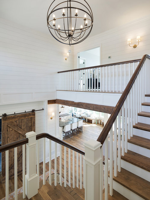Inspiration For A Large Beach Style Wooden U Shaped Wood Railing Staircase  Remodel In Minneapolis