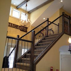 Transitional Staircase by Hearthwoods Custom Furnishings