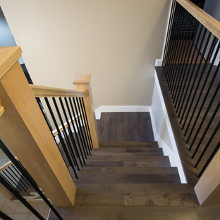 Small transitional wooden mixed material railing staircase photo in Other with painted risers