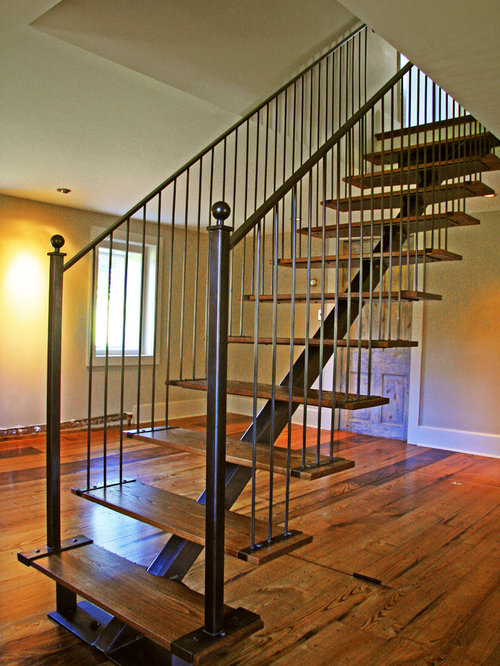 Farmhouse Floating Staircase Design Ideas Pictures