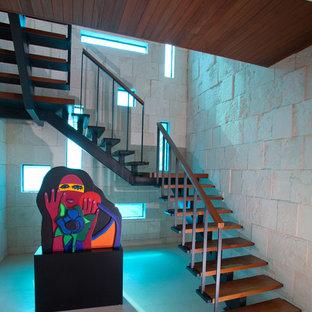 マイアミの木のコンテンポラリースタイルのおしゃれな階段の写真