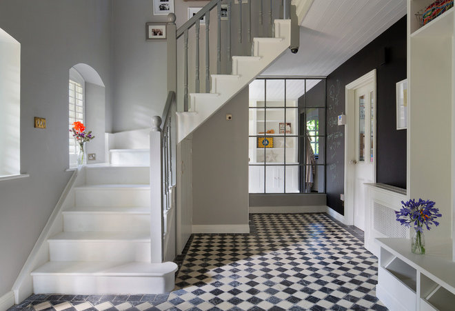 Transitional Staircase by TileStyle