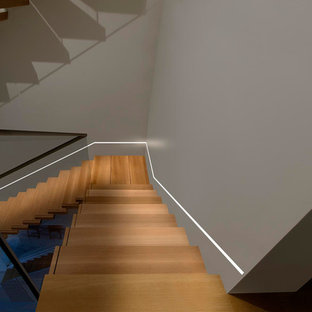 Example of a trendy staircase design in Chicago