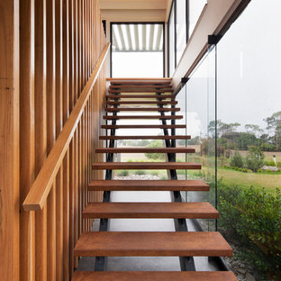 Large contemporary metal straight staircase in Melbourne.