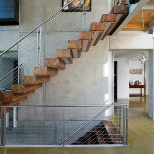 リッチモンドの中サイズの木のコンテンポラリースタイルのおしゃれなフローティング階段 (木の蹴込み板、ワイヤーの手すり) の写真