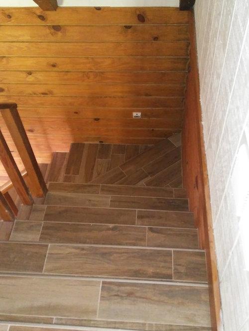 Farmhouse Tile Staircase Design Ideas Remodels Photos