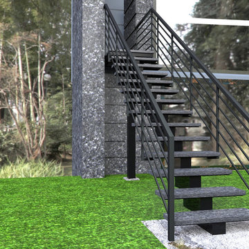 Riverview private house exterior central stringer steel and stone 3D drawing