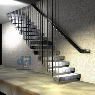 Riverview private house interior st.st. and marble floating staircase 3D drawing