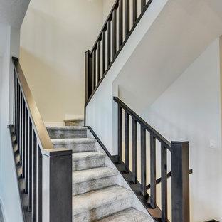 カルガリーの中サイズのカーペット敷きのトランジショナルスタイルのおしゃれなかね折れ階段 (カーペット張りの蹴込み板、木材の手すり) の写真