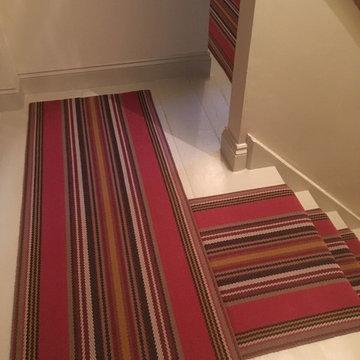 Roger Oates Chatham Turkey Red stair runner carpet to